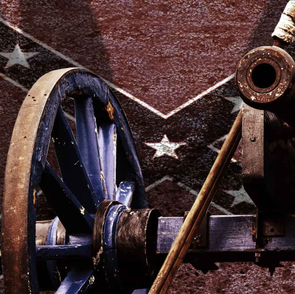 Civil War cannon and flag.